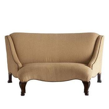 Seating - Twine Banquette I Horchow - beige banquette, upholstered beige banquette, banquette with nailhead trim,