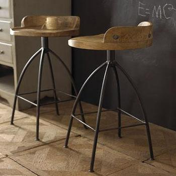 Seating - Arteriors Wood & Iron Stools I Horchow - wood and iron stool, contemporary iron stool, iron stool with wooden seat, iron stool with swivel seat,