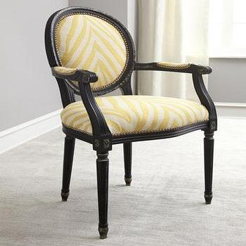 Seating - Old Hickory Tannery Grena Yellow Armchair I Horchow - yellow zebra print armchair, oval back zebra print chair, yellow zebra print chair,