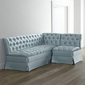 Seating - Clarice L-Shaped Banquette I Horchow - gray l shaped banquette, button tufted l shaped banquette, l shaped upholstered banquette,