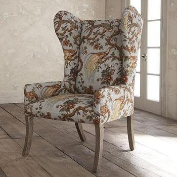 Seating - Pheasant Host Chair I Horchow - pheasant print host chair, bird print host chair, bird print wingchair, blue bird print wingchair,