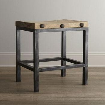 Seating - Wilbur Stools I Horchow - industrial stool, backless industrial stool, iron stool with wood seat,