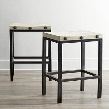 Seating - Wilber Barstool I Horchow - backless barstool, industrial barstool, backless industrial barstool, iron barstool with white seat,