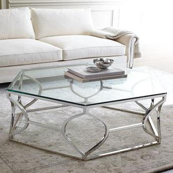 Tables - Paxton Coffee Table I Horchow - hexagonal coffee table, geometric hexagonal coffee table, mirror topped hexagonal coffee table, silver hexagonal coffee table,