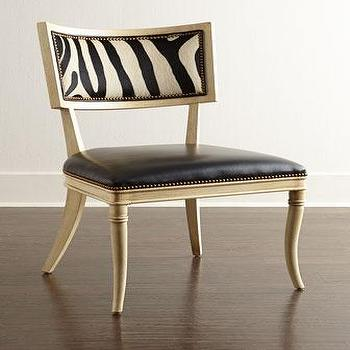 Seating - Massoud Black Zebra Leather Dining Chair I Horchow - zebra print dining chair, zebra backed dining chair, zebra leather dining chair, black leather zebra print dining chair,