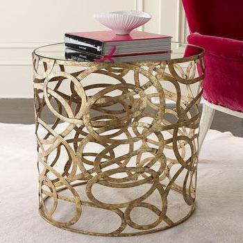 Tables - Scroll Side Table I Horchow - gold swirl side table, antiqued gold side table, abstract gold side table, round gold side table, round gold mirror topped side table,