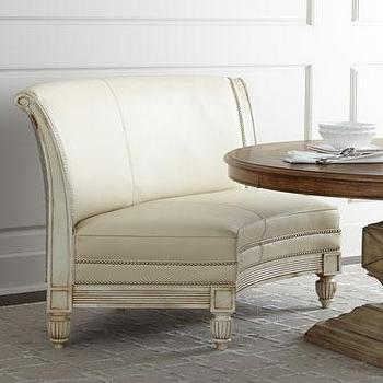 Seating - NM EXCLUSIVE Bolin Banquette I Horchow - curved banquette, curved ivory banquette, curved banquette with nailhead trim, cream leather banquette,