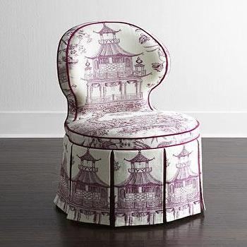 Seating - Haute House Gardon Dining Chair I Horchow - purple chinoiserie dining chair, chinoiserie skirted dining chair, purple and white skirted dining chair, chinoiserie toile dining chair,