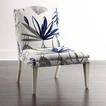 Seating - Massoud Allison Botanical Dining Chair I Horchow - gray and blue floral print chair, gray and blue dining chair, gray and blue botanical print chair, floral chair with nailhead trim,