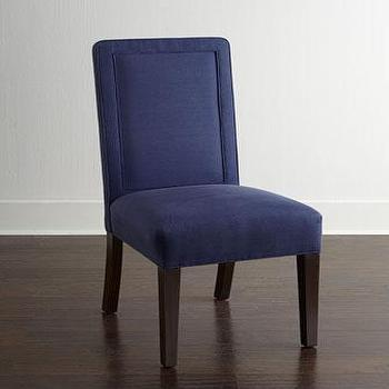 Seating - Haute House Nantucket Dining Chair I Horchow - navy dining chair, navy blue dining chair, navy window pane back chair, navy dining chair with nailhead trim,
