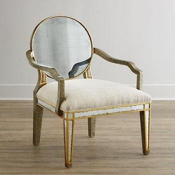 Seating - John-Richard Collection Lela Eglomise Armchair I Horchow - mirrored oval back armchair, mirror backed armchair, gold mirrored armchair, gilded eglomise armchair,