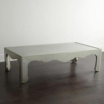 Tables - Bernhardt Macari Coffee Table I Horchow - silver leafed coffee table, silver scalloped edge coffee table, modern silver leaf coffee table, antiqued silver leaf coffee table,