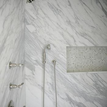 H2 Design and Build - bathrooms - shower niche, tiled shower niche, mosaic shower niche, mosaic tile shower niche, marble shower, marble shower surround,