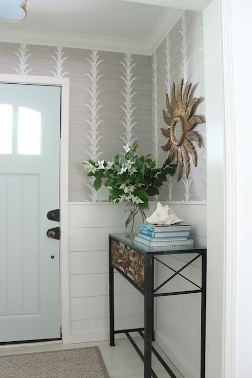 Small Foyer Wallpaper : Blue front door transitional entrance foyer benjamin
