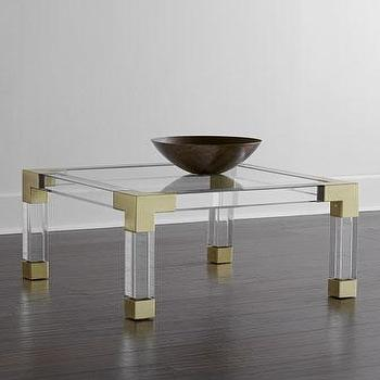 Tables - Jonathan Adler Jacques Coffee Table I Horchow - lucite and brass coffee table, modern lucite coffee table, brass and acrylic coffee table,