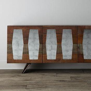 Storage Furniture - Berlin Console Chest I Horchow - mid century modern console, mid century mirrored console, mid century sideboard with mirrored doors, mirror fronted mid century console,