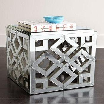 Tables - Regina-Andrew Design Diamond Mirrored Side Table I Horchow - mirrored side table, contemporary mirrored side table, openwork mirrored side table, geometric mirrored side table,