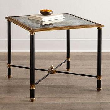 Tables - John-Richard Collection Neoclassical SideTable I Horchow - neoclassical side table, black and gold side table, black side table with gold trim,