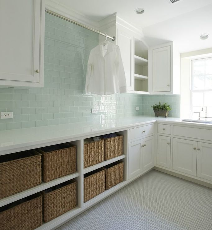 Baskets Above Kitchen Cabinets: Green Glass Subway Tiles