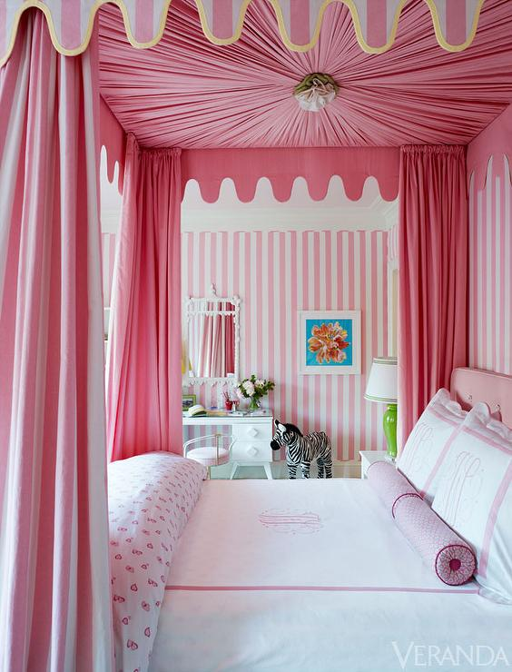 Veranda - girl's rooms - white and pink striped walls, pink vertically striped walls, striped girls room walls, striped kids room walls, white and pink vertical striped walls, floral art, colorful floral art, kids art, zebra stuffed toy, retro white desk, white desk, white dressing table, retro white dressing table, white chinoiserie mirror, pink heart patterned bedding, pink heart print bedding, pink bolster pillow, pink hotel bedding, pink hotel duvet, pink monogrammed hotel bedding, pink monogrammed hotel duvet, white and pink canopy bed, pink canopy bed, pink four poster canopy bed, pink and white striped canopy bed, ruched bed canopy, scalloped canopy bed valance, pink and white bedroom, pink and white girls room, pink striped walls, pink vertical striped walls, pink heart duvet, pink bed curtains, pink bed canopy, striped bed canopy, striped bed canopy, striped canopy bed, pink canopy bed,