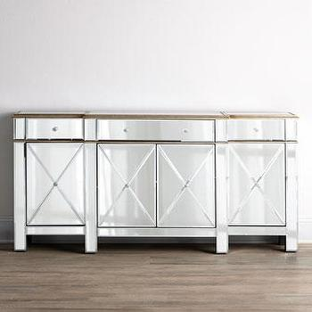 Storage Furniture - Jerilynn Mirrored Console I Horchow - mirrored console, gold mirrored console, mirrored buffet cabinet,