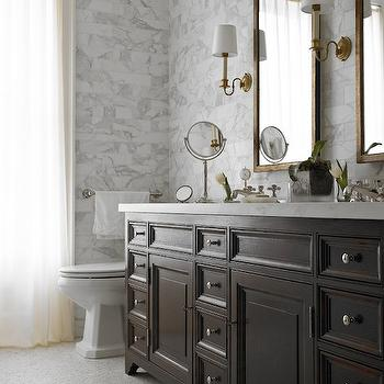 Rusk Renovations - bathrooms - brass mirrors, brass vanity mirror, rectangular vanity mirror, brass vanity mirror, antique brass sconces, bathroom sconces, his and her sinks, double vanity, brown double vanity, double washstand, double washstand ideas, double vanity ideas, chocolate brown vanity, chocolate vanity, chocolate double vanity, chocolate brown double vanity, white marble countertop, brown vanity white countertop, mosaic marble floor, marble subway tiles, white marble subway tiles, ceiling height backsplash, elegant bathrooms, sophisticated bathrooms,