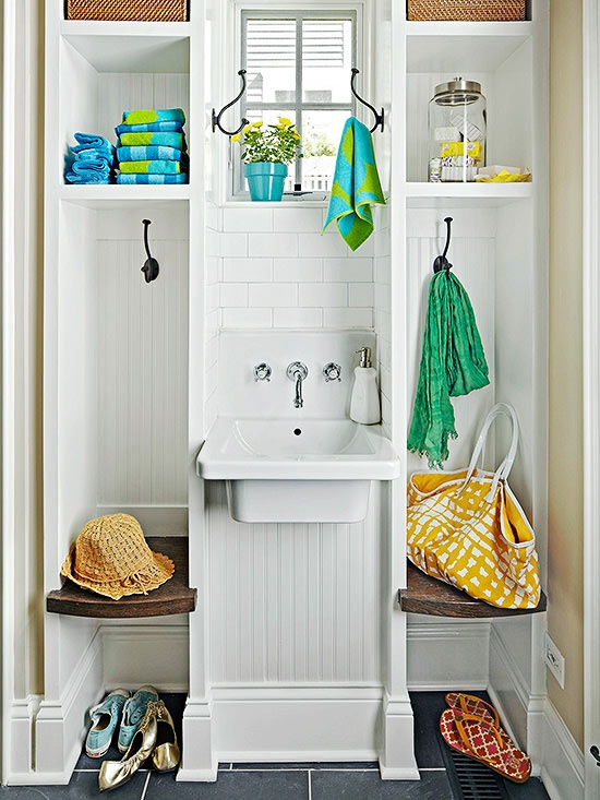 Mudroom sink cottage laundry room bhg for Outdoor mudroom ideas