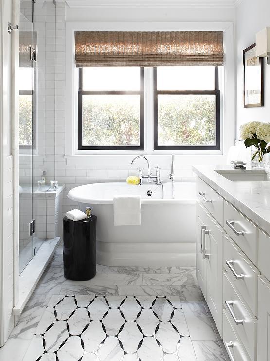 marble inset tiles  traditional  bathroom  benjamin
