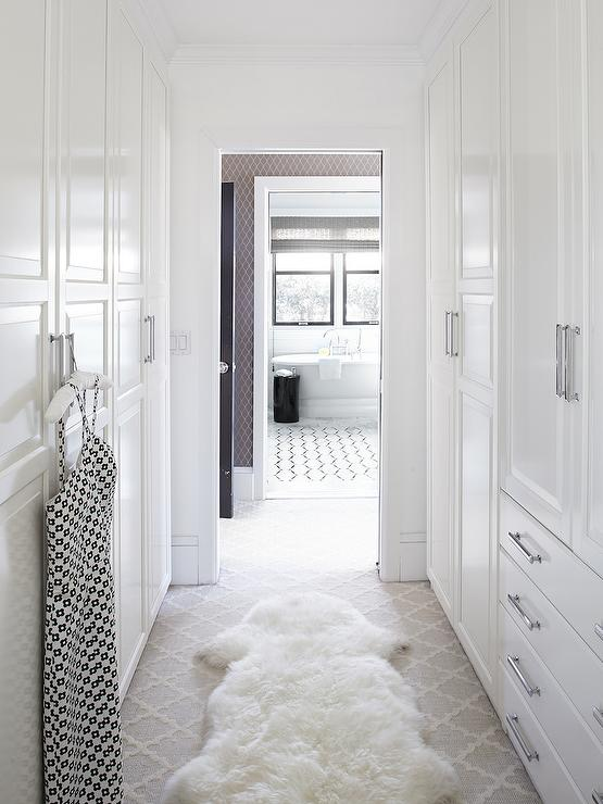 Walk Through Closet Traditional Closet Benjamin Moore Super White Urrutia Design