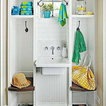 BHG - laundry/mud rooms - mini mud room, mud room lockers, mud room built ins, small mud room, mud room sink, utility sink, wall mount sink, wall mount sink with faucet, beadboard backed mud room closet, mud room storage, mud room bench, mud room cubbies, slate floor tile, gray tiled floors, wall hooks, oil rubbed bronze wall hooks, wall hooks, square window, subway tile, small mudrooms, mudroom sink, wall mounted sink, mudroom beadboard, beadboard mudroom, mudroom bench,