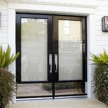 Urrutia Design - entrances/foyers - Benjamin Moore - Super White - double doors, polished stainless steel kick plate, shiplap siding, urrutia design, jason urrutia, martha carvalho,