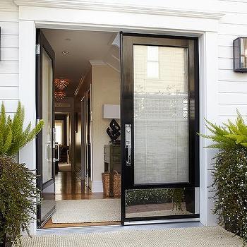 Urrutia Design - entrances/foyers - Benjamin Moore - Super White - double doors, polished stainless steel kick plate, shiplap siding, oak floors, oak flooring, urrutia design, jason urrutia, martha carvalho,