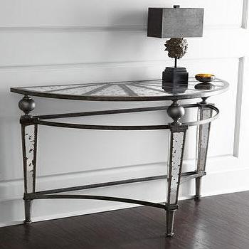 Tables - Ambella Normandy Console I Horchow - mirrored demilune console, antiqued mirrored demilune console, iron and mirror demi lune console,