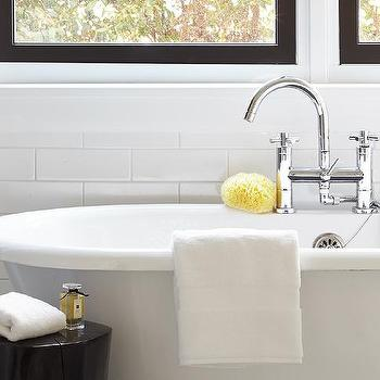 Urrutia Design - bathrooms - Benjamin Moore - Super White - free standing tub, ebony stump, subway tile, white subway tile, polished chrome hardware,