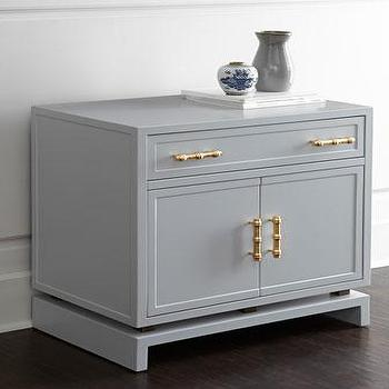 Storage Furniture - Larchment Chest I Horchow - gray lacquered chest, gray chest with bamboo handles, gray lacquered cabinet, gray chest with bamboo pulls,