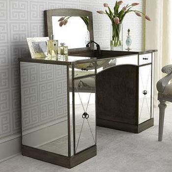Storage Furniture - Laria Vanity I Horchow - mirrored make up vanity, mirrored dressing table, mirrored vanity, mirrored lift top vanity,