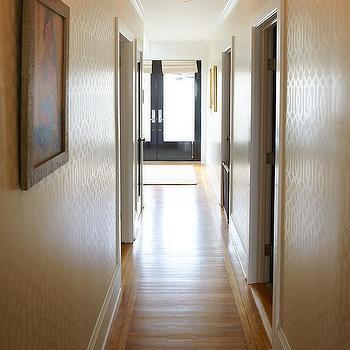 Urrutia Design - entrances/foyers - Benjamin Moore - Super White - oak floor, oak flooring, crystal light, crystal, flush mount, crystal pendant, urrutia design, jason urrutia, martha carvalho,