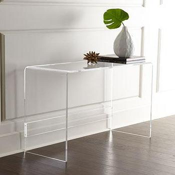 Tables - Carillo Acrylic Console I Horchow - acrylic console table, see through console table, modern acrylic console table,