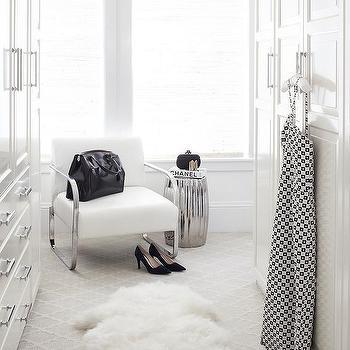 Urrutia Design - closets - Benjamin Moore - Super White - chrome leather chair, chanel book, chanel, ceramic stool, chrome stool, fur rug, faux fur rug, carpet, walk-in closet, polished chrome hardware, urrutia design, jason urrutia, martha carvalho,