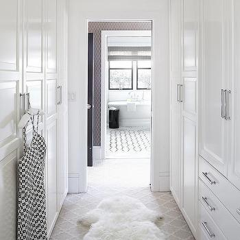 Urrutia Design - closets - Benjamin Moore - Super White - fur rug, faux fur rug, carpet, walk-in closet, polished chrome hardware, urrutia design, jason urrutia, martha carvalho,