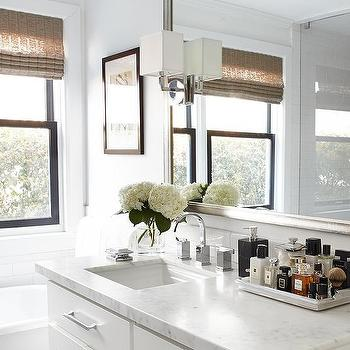 Urrutia Design - bathrooms - Benjamin Moore - Super White - white carrera marble, white carrara marble, polished chrome pulls, free standing tub, perfume tray, subway tile, white subway tile, urrutia design, jason urrutia, martha carvalho,