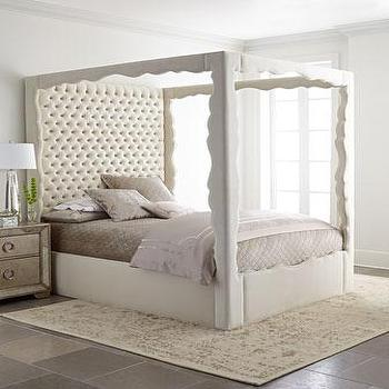 Beds/Headboards - Haute House Empress Canopy Bed I Horchow - upholstered canopy bed, white canopy bed with tufted headboard, white scalloped frame canopy bed, scalloped white canopy bed,