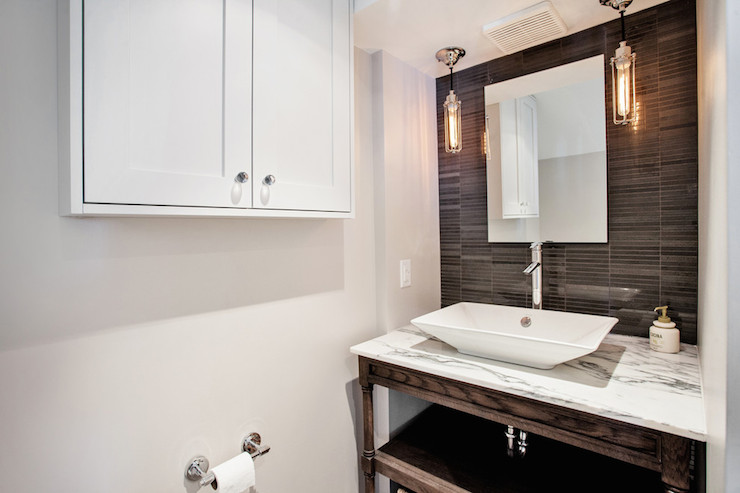 Tiled Accent Wall Contemporary Bathroom Madison