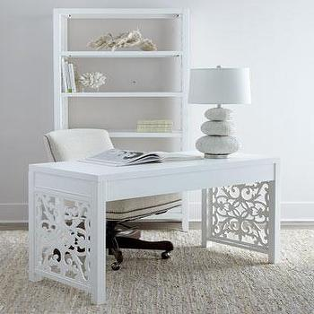 Tables - White Spur Desk I Horchow - white fretwork paneled desk, white scrolled fretwork desk, white desk with fretwork sides,