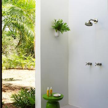 McAlpine Booth and Ferrier - decks/patios - green stool, modern green stool, shower garden stool, garden shower, outdoor shower, tropical outdoor shower, mosaic tiled floors, gray mosaic tile, concrete outdoor shower, white wall planter, contemporary wall planter, outdoor shower head, green lacquered stool,