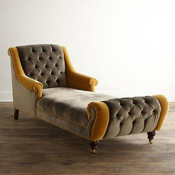 Seating - Haute House Brandi Velvet Chaise I Horchow - gray and gold velvet chair, gray and gold velvet tufted chair, velvet button tufted gray chaise,