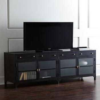 Storage Furniture - Peyton Entertainment Console I Horchow - industrial media cabinet, glass front metal media cabinet, iron media cabinet, iron entertainment console, iron glass front media cabinet,