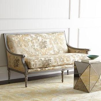 Seating - Massoud Darrington Settee I Horchow - gray gold settee, gray gold french settee, french settee, french damask settee, louis xvi settee,