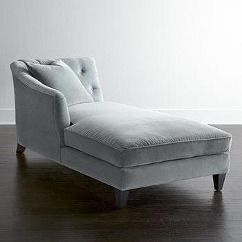 Seating - Lombard Chaise I Horchow - gray velvet chaise, gray velvet tufted back chaise, light gray velvet chaise,