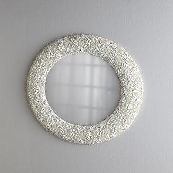 Mirrors - Clamrose Shell Mirror I Horchow - oval shell mirror, oval seashell mirror, clamrose shell mirror,
